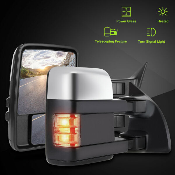 L+R For 99-07 Ford F250/F350/F450/F550 Chrome Power+Heat+Signal Tow Side Mirrors