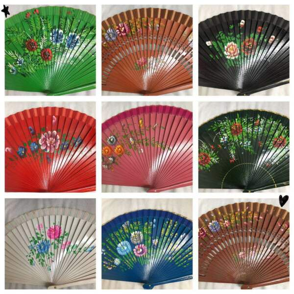 Set of 12 high quality Spanish wood fan wedding deco gift for her dancing fan $59.99