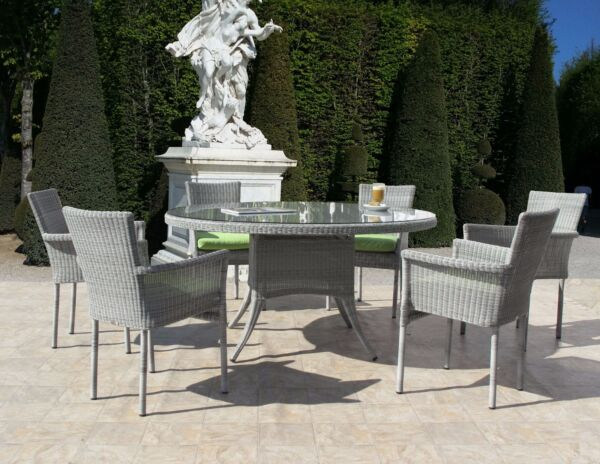 Premium Outdoor Woven Wicker 7 Piece Round Table Dining Set Sunbrella Cushions
