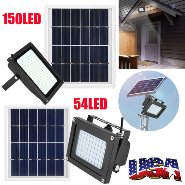 54  150 LED Solar Power Flood Spot Light Outdoor Garden Yard Security Lamp US
