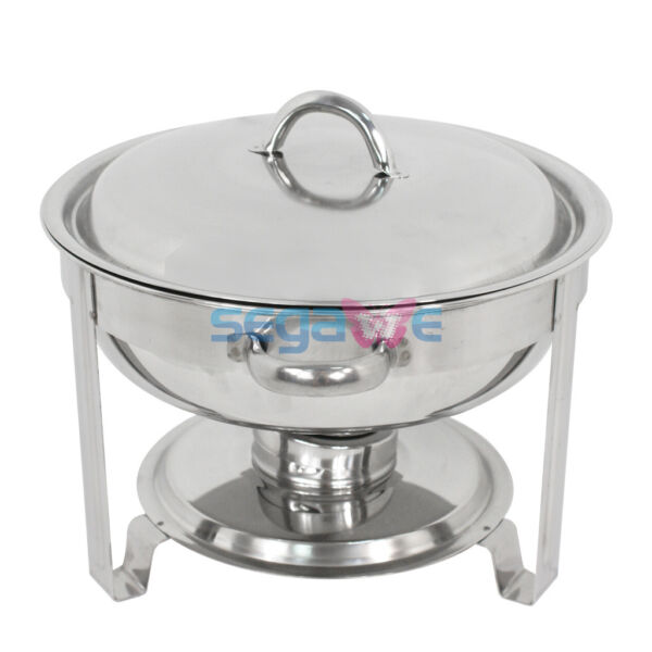 1 Pack Full Size 5 Qt. Round Stainless Steel Chafing Dishes Buffet Catering