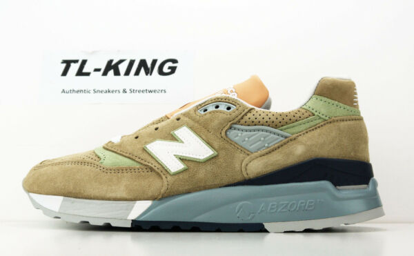 New Balance M998XAA Tan Pig Suede Green Made In USA Classic Sneaker Msrp $180 BW