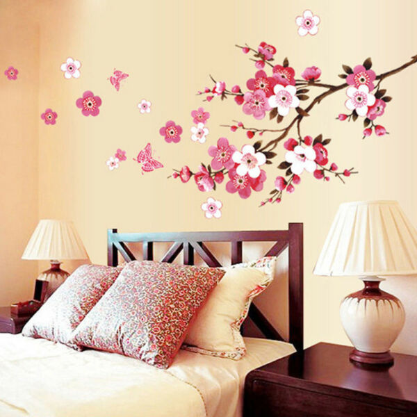 ES_ Romantic Flower Butterfly Wall Sticker Art Decal For Home Bedroom Hotel Note