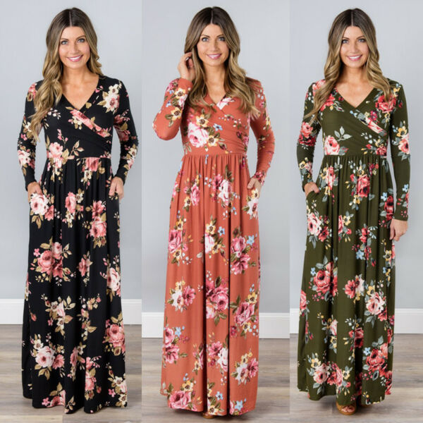 US Women Floral Print Long Sleeve Beach Dress Lady Evening Party Long Maxi Dress