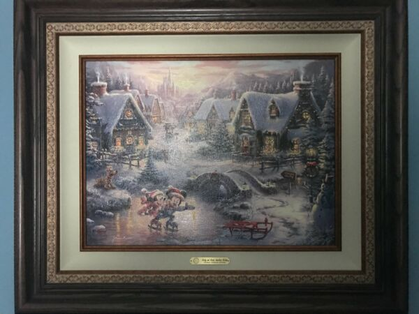 Mickey and Minnie Sweetheart Holiday Thomas Kinkade EE Canvas 18x24 Walnut Frame