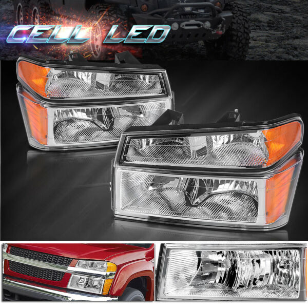2x Headlights Assembly + Bumper Lights for 2004-2012 GMC CanyonChevy Colorado