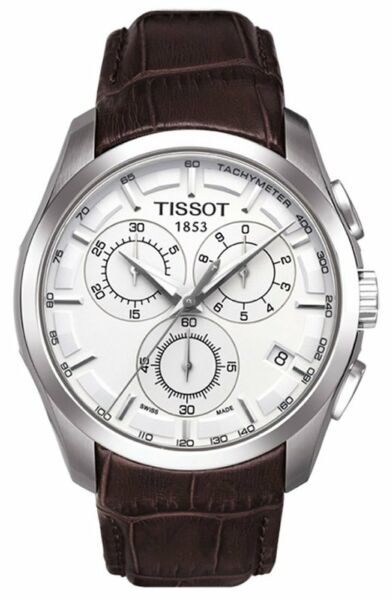 T0356171603100 Tissot Couturier Men's Chronograph Brown Leather Strap Watch new