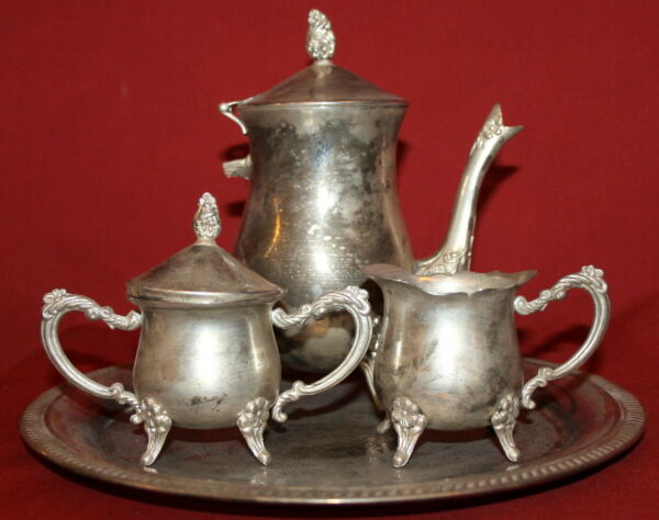Vintage Silverplated Set CoffeeTea Pot Creamer Sugar Bowl And Tray