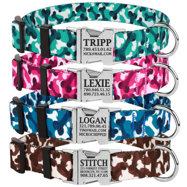 Personalized Dog Collar Custom Engraved Side Release Buckle Collars for Dogs S L $9.99