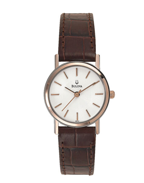 Bulova Women's 98V31 Quartz White Dial Brown Leather Strap 25mm Watch