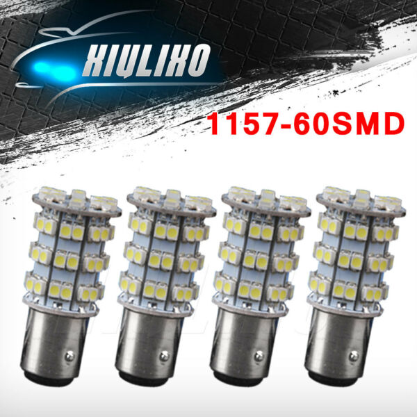 4 X 6000K White 1157 3528 Chip 60 SMD LED Tail Brake Backup Reverse Light Bulbs