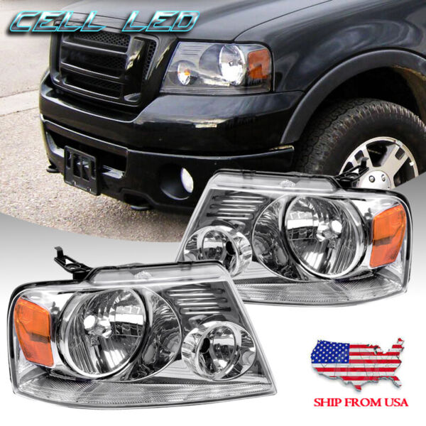 Chrome Headlights Amber Front Driving Headlamps for 04-08 Ford F150 Pickup Pair