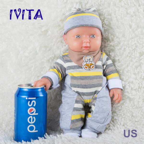 IVITA 11.8'' Full Body Silicone Reborn Baby Soft Body Silicone Doll