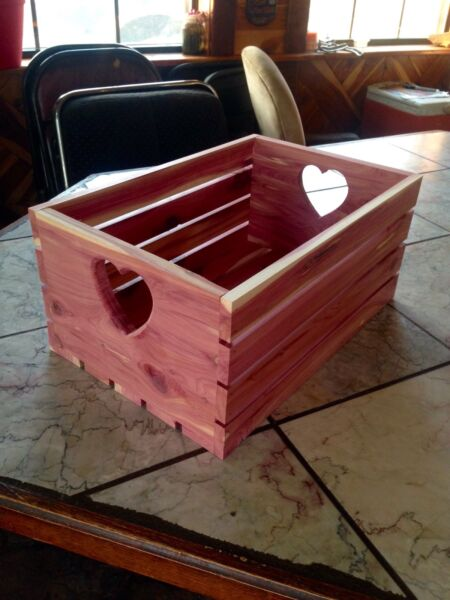 Large Wood Crate Wooden Box Unfinished Red Cedar 12