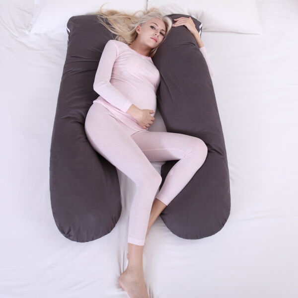 Pregnancy Pillow Maternity Belly Contoured Body U Shape Extra Comfort Gray