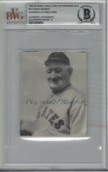 HONUS WAGNER 1936 NATIONAL CHICLE FINE PEN PREMIUMS R313 AUTO CUT CARD BVG AUTH