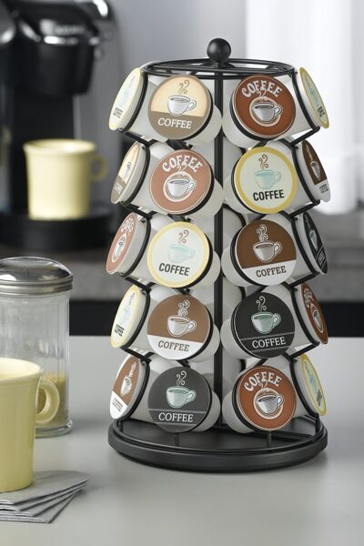 NEW K-CUP KEURIG CAROUSEL COFFEE STORAGE HOLDER RACK HOLDS 35 K-CUPS IN BLACK