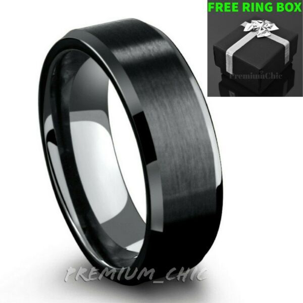 Black Tungsten Carbide Mens Engagement Wedding Band Ring Brushed Center