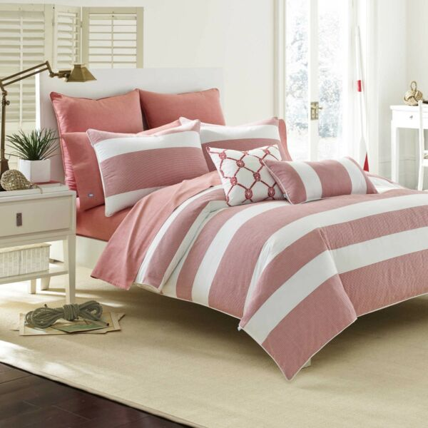 BRAND NEW SOUTHERN TIDE BREAKWATER 7PC FULLQUEEN COMFORTER SET VINTAGE RED