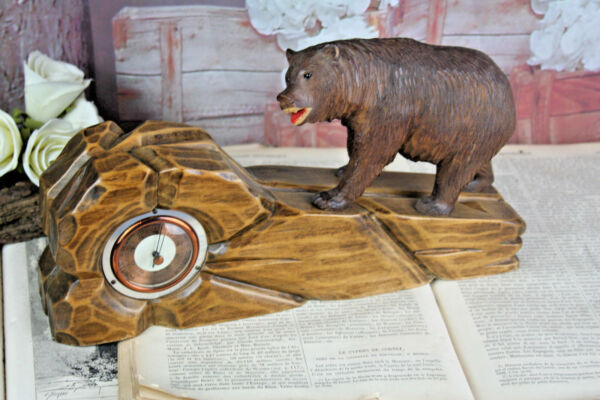 Gorgeous BLACK FOREST wood carved bear barometer rare model Germany 1900