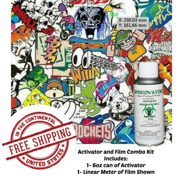 HYDROGRAPHIC WATER TRANSFER HYDRO DIP 6OZ ACTIVATOR & CARTOON BOMB 2 KIT