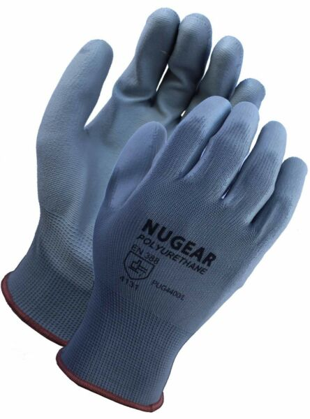 12 PAIRS POLYURETHANE (PU) PALM COATED PROTECTIVE SAFETY WORK GLOVES