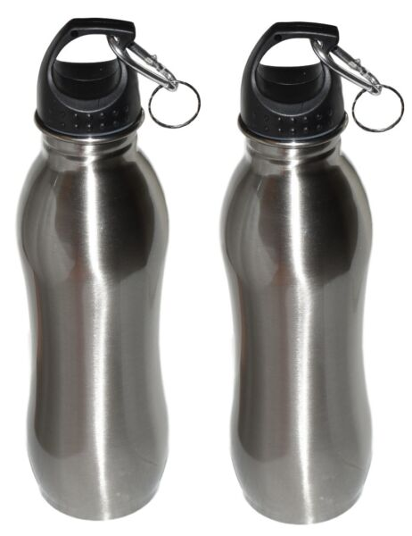 2 Pack 25 oz Wide Mouth Stainless Steel Sports Water Bottle Silver