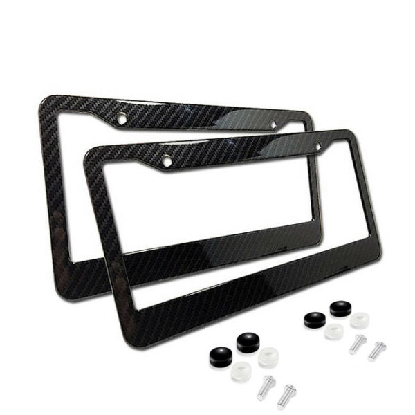 2xUniversal Carbon Fiber Style License Plate Frames for Front amp; Rear $9.95