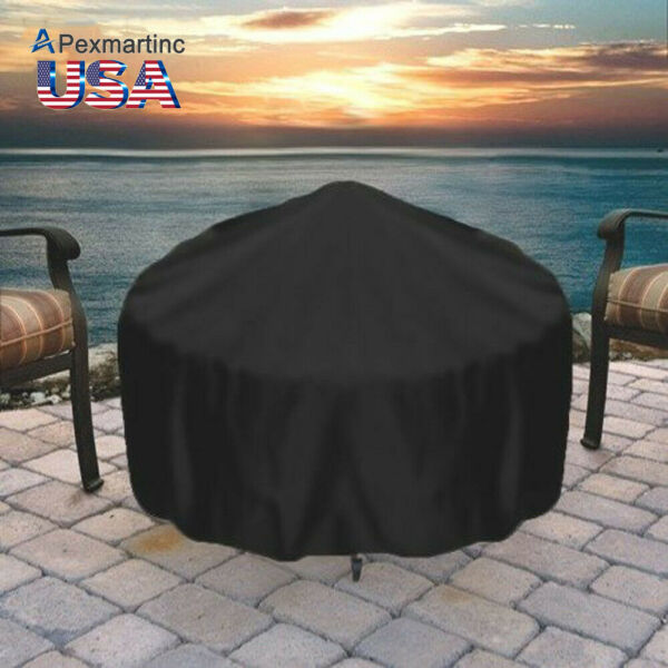 30 IN Round Durable Black Fire Cover Waterproof UV Protector Grill BBQ Cover USA