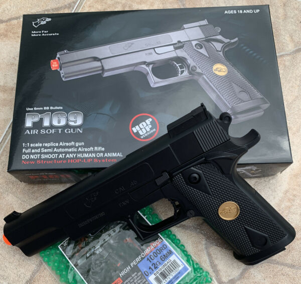 BEST QUALITY ORIGINAL FULL SIZE SPRING AIRSOFT GUN PISTOL WITH FREE 1000 BB#x27;S $16.99