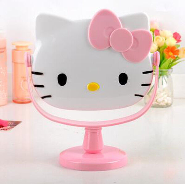 Cute For Pink Hello Kitty Desk Table Pink Bow Make up Mirror Cosmetic Mirror $13.98