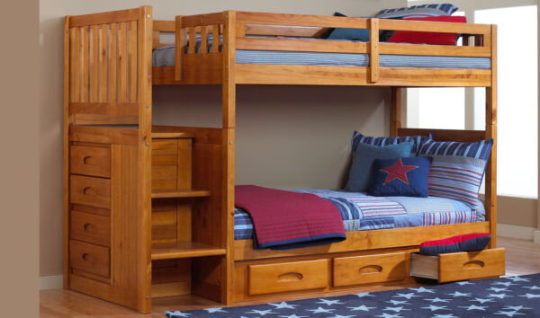 Discovery World Furniture Honey Staircase Mission Bunk Bed TwinTwin