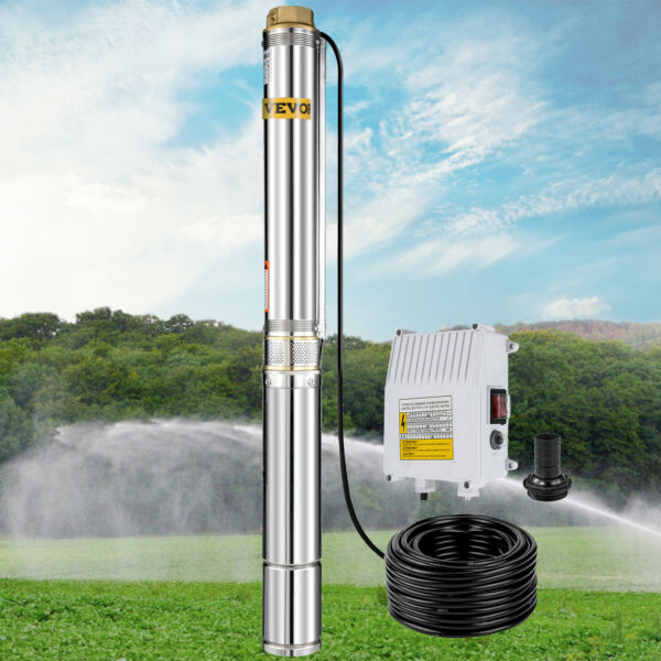 Submersible Well Pump 443FT 26GPM 220V 2HP Deep Stainless Steel Water NEW