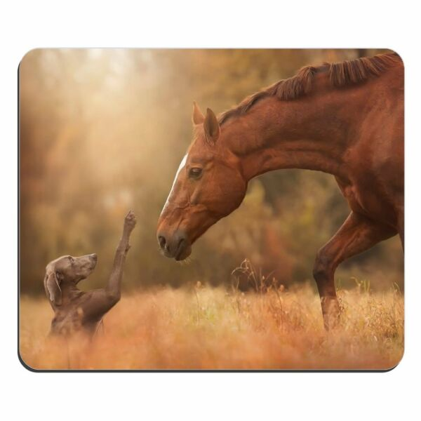 MOUSE MAT 125 Horse Meets Dog Customized Rectangle Mousepad Gaming Mouse Pad GBP 2.99