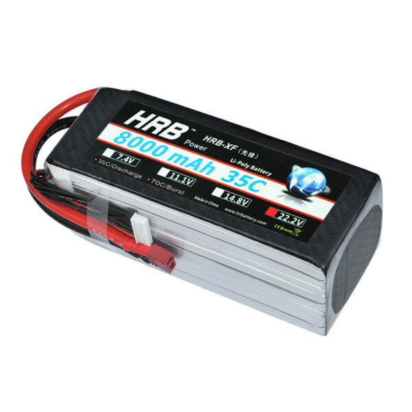 HRB 22.2V 8000mAh 6S LiPo Battery 35C T Plug for RC Helicopter Drone Airplane