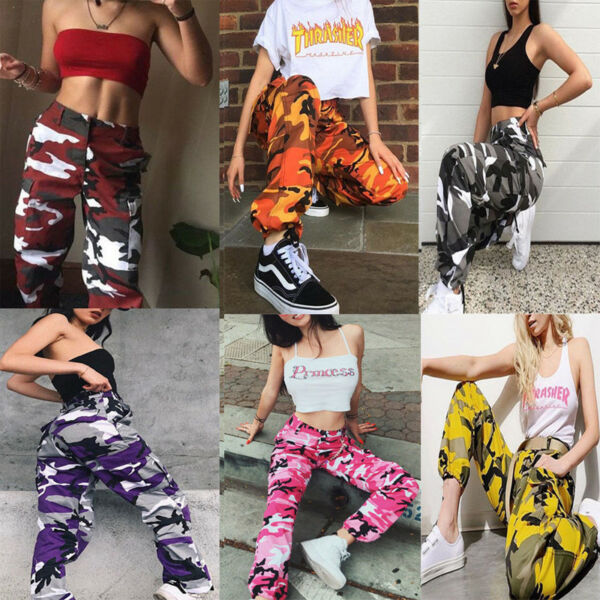 Womens Camo Cargo Trousers Casual Pants Military Army Combat Camouflage Pant LOT