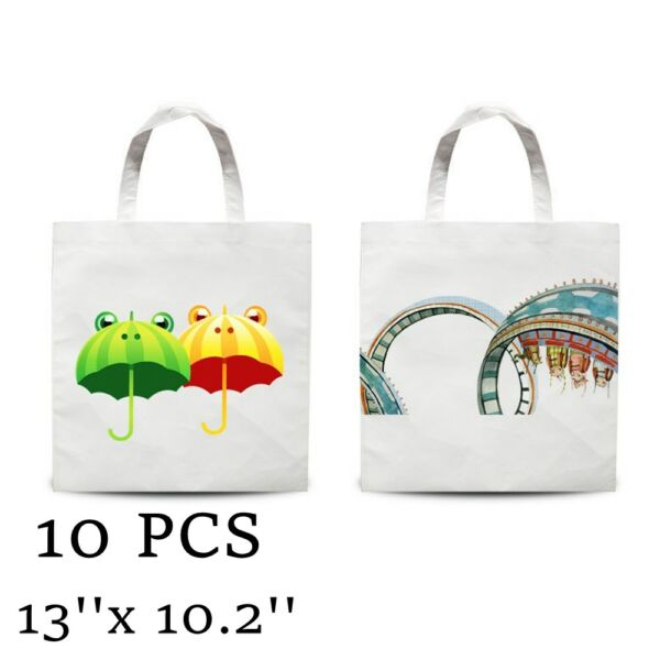 Plain White Blank Dye Sublimation Shopping Bag Small Carrier Bag Non Woven 10PCS $19.99