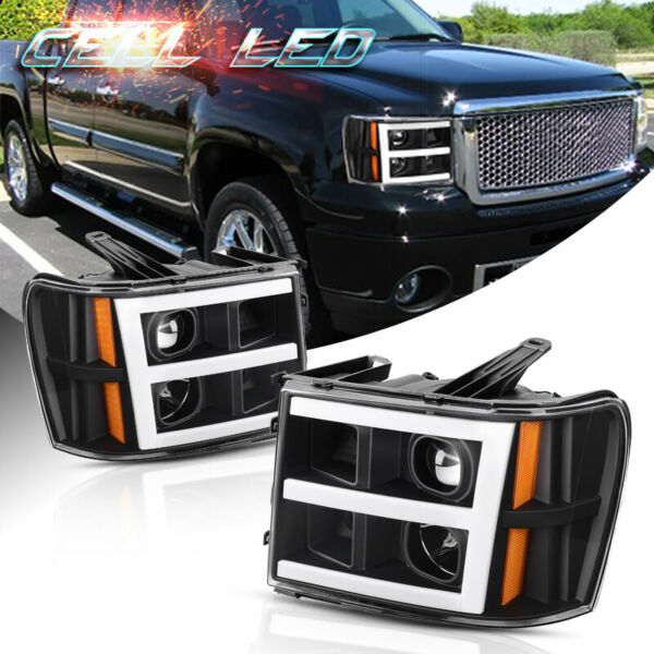 Black For 2007-2013 GMC Sierra 1500 2500/3500HD LED DRL Tube Projector Headlight