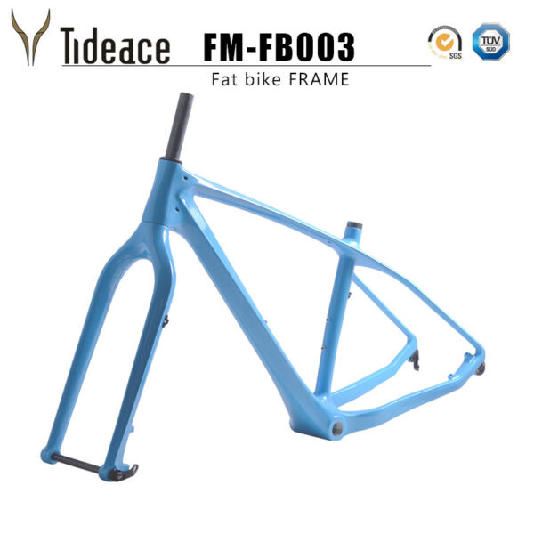 T800 Carbon Fiber 26er Fat Bicycel Frame Sky BlueBlack Cycling Beach Bicycle