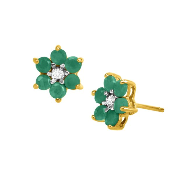 1 ct Natural Emerald Flower Earrings with Diamonds 18K Gold-Plated Silver