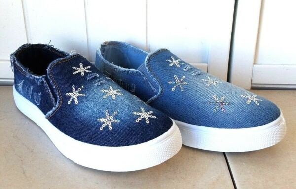 WOMEN'S FRAYED BLUE  DENIM SILVER SEQUINS ACCENTED SNEAKERS SHOES
