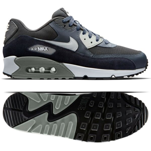 Nike Air Max 90 Essential 537384-035 Anthracite/Granite/Black Leather Men Shoes