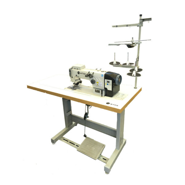 110V Multifunctional Silicon Edge Sewing Machine for Banners A Wooden Table