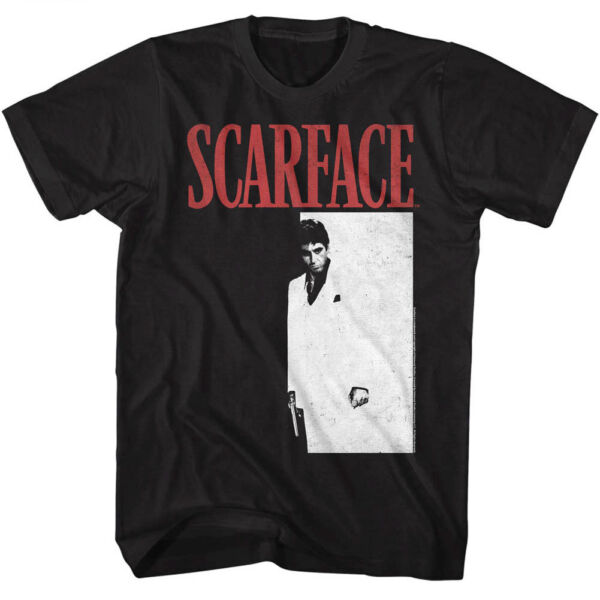 Scarface Tony Montana Men#x27;s T Shirt Movie Poster Pacino Vintage Black Gangster