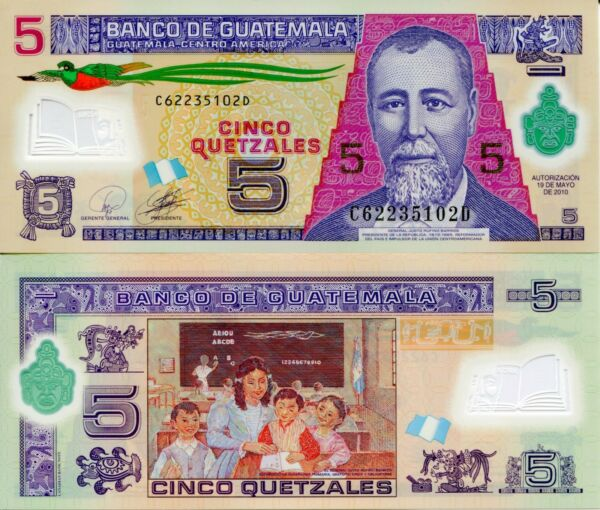 GUATEMALA 5 Quetzel Banknote World Currency Money BILL Polymer Note p122a Bird