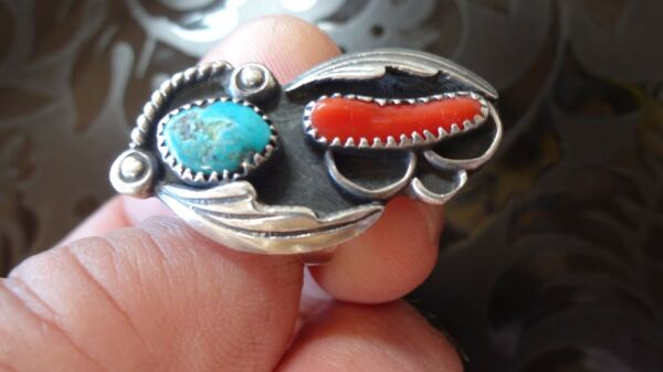 Turquoise with Red Coral Leaf & Rope Design in Sterling Silver