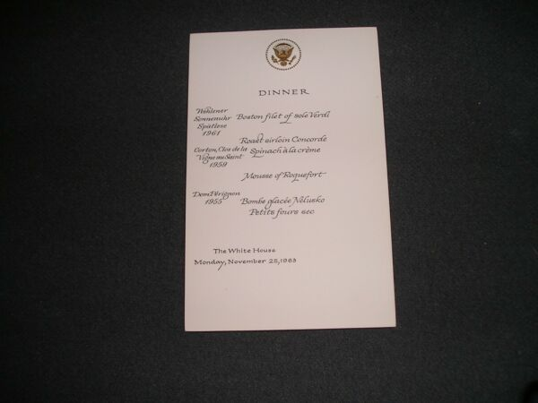 John Kennedy White House Menu RARE State Dinner Canceled for Funeral 112563