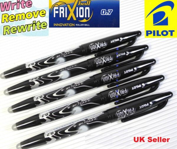 5 X Pilot Frixion Erasable Rollerball Black Pen 0.7mm Point cheapest on