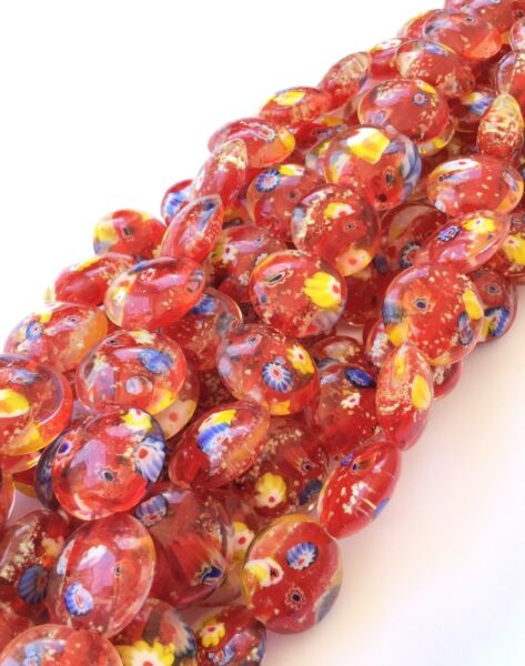 Strands of Red Fancy Glass Millefiori Beads Jewelry Supplies $6.72