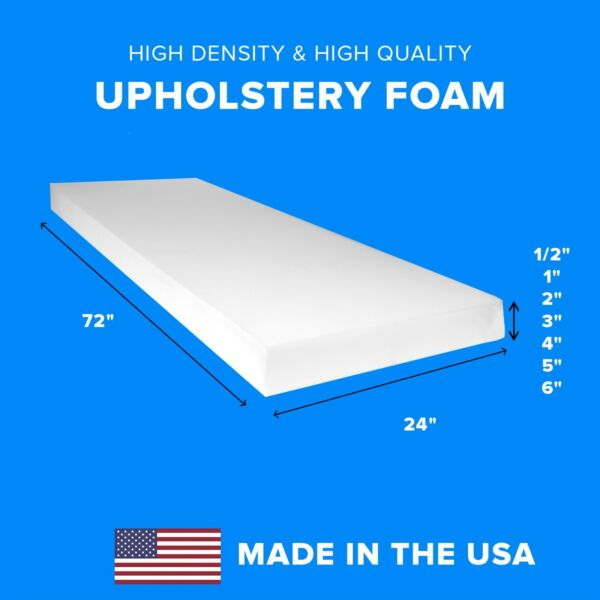 High Density Upholstery Foam Seat Couch Cushion Replacement 24quot; x 72quot;